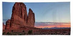 Courthouse Towers Arches National Park At Dawn Bath Towel
