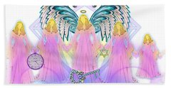 Hand Towel featuring the digital art Cousins by Barbara Tristan