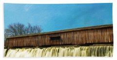 Covered Bridge And Waterfalls Bath Towel