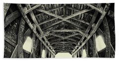 Covered Bridge At Kent Falls With Graffiti Hand Towel