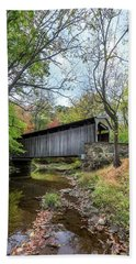 Covered Bridge In Pennsylvania During Autumn Hand Towel