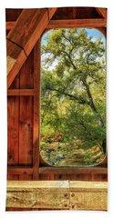 Covered Bridge Window Hand Towel by James Eddy