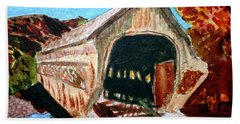 Bath Towel featuring the painting Covered Bridge Woodstock Vt by Donna Walsh