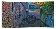 Bath Towel featuring the photograph Covered Canal In Den Bosch by Frans Blok