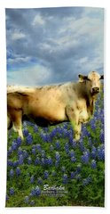 Bath Towel featuring the photograph Cow And Bluebonnets by Barbara Tristan