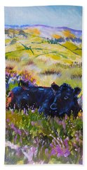Cow Lying Down Among Plants Hand Towel