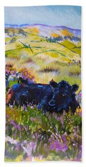 Cow Lying Down Among Plants Bath Towel
