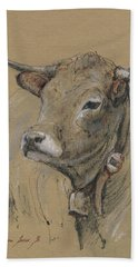 Cow Portrait Painting Hand Towel by Juan Bosco