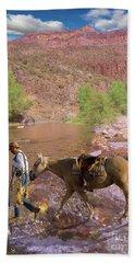 Cowboy And Horse Bath Towel