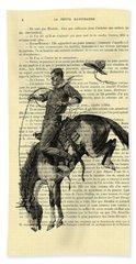 Cowboy And Horse, Western Art Bath Towel