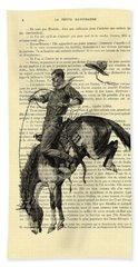 Cowboy And Horse, Western Art Hand Towel