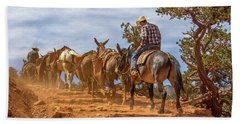 Cowboy And Mule Train On The South Kaibab Trail In The Grand Canyon Hand Towel