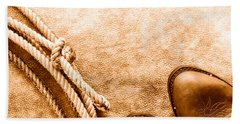 Cowboy Boots And Lasso - Sepia Hand Towel