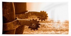 Cowboy Boots And Riding Spurs - Sepia Hand Towel