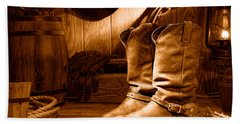 Cowboy Boots In A Ranch Barn - Sepia Hand Towel