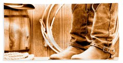 Cowboy Boots On The Deck - Sepia Hand Towel