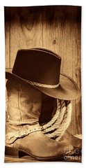Cowboy Hat On Boots Bath Towel