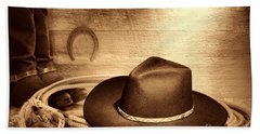 Cowboy Hat On Lasso Hand Towel