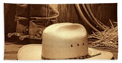 Cowboy Hat With Western Boots Bath Towel