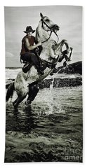 Cowboy On The Rear Up Horse In The River Bath Towel