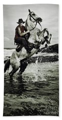 Cowboy On The Rear Up Horse In The River Hand Towel