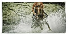 Cowboy Riding Horse Across The River Hand Towel
