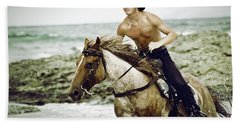 Cowboy Riding Horse On The Beach Hand Towel