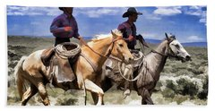 Cowboys On Horseback Riding The Range Hand Towel