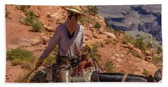 Cowgirl Leading A Mule Train On The South Kaibab Trail Bath Towel