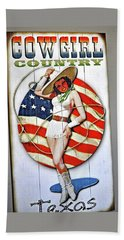Hand Towel featuring the photograph Cowgirl Pin-up Texas by Jay Milo