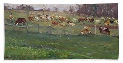 Cows In A Farm, Georgetown  Hand Towel