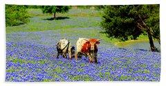 Cows In Texas Bluebonnets Bath Towel