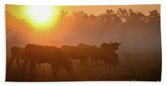 Cows In The Sunrise Mist Bath Towel