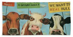 Bath Towel featuring the painting Cows On Strike by Leah Saulnier The Painting Maniac