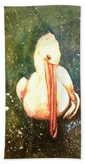 Bath Towel featuring the painting Coy by Therese Alcorn