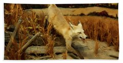 Hand Towel featuring the digital art Coyote  by Chris Flees
