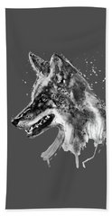 Bath Towel featuring the mixed media Coyote Head Black And White by Marian Voicu