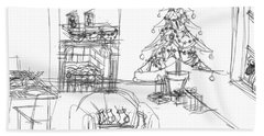 Hand Towel featuring the drawing Cozy Christmas by Artists With Autism Inc