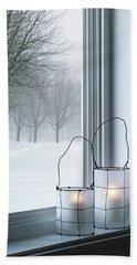 Cozy Lanterns And Winter Landscape Seen Through The Window Bath Towel
