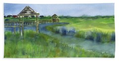 Hand Towel featuring the painting Crab Dock Pawleys Island by Frank Bright