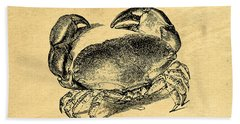 Hand Towel featuring the drawing Crab Vintage by Edward Fielding