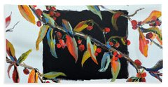 Hand Towel featuring the painting Crabapple Branches With Black by Jodie Marie Anne Richardson Traugott          aka jm-ART