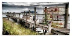 Crabber's Dock, Surf City, North Carolina Bath Towel by John Pagliuca