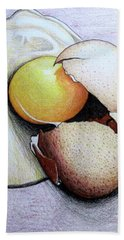 Hand Towel featuring the drawing Cracked Egg by Mary Ellen Frazee