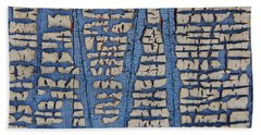 Crackled Blue White Paint Hand Towel