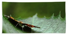 Hand Towel featuring the photograph Cradled Painted Lady by Debbie Oppermann