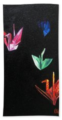 Bath Towel featuring the painting Crane Flight by LaVonne Hand