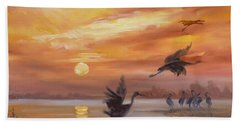 Cranes - Golden Sunset Hand Towel by Irek Szelag