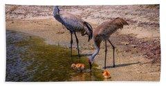 Cranes In The Lake Bath Towel