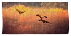 Cranes Lifting Into The Sky Bath Towel